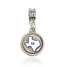 Texas TX State Outline on Faded Blue European Italian Style Bracelet Bead Charm