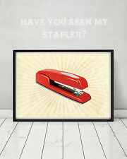 Office Space Movie Red Swingline Stapler Print Funny Gift TPS Report Poster Art