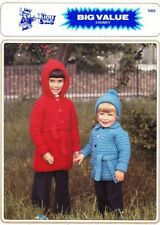 """VINTAGE KING COLE KNITTING PATTERN,TODDLERS' CHUNKY HOODED COAT,CARDI&HAT,18-26"""""""