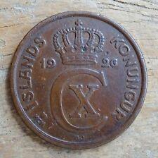 Iceland 2 Aurar Coin~1926 Christian X~KM#6.1~Bronze 3g~Fine~#376