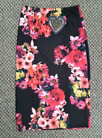 Ladies Size 10 Pink Black Yellow Floral Fitted Pencil Skirt Womens Knee Length
