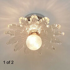 367b Vintage 40's arT DEco STarburst CEILING LIGHT lamp fixture glass shade