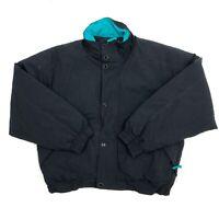 Vintage Eddie Bauer Black Full Zip Goose Down Puffer Jacket Mens Size L. Large