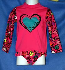 The Children's Place PINK Peace & Hearts 2 Piece Rashguard Swimsuit 18-24 M NWT