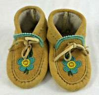 Beaded Woodland Cree Flower Tan Suede Hand Made Moosehide Leather Baby Moccasin