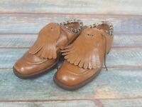 Vintage Plus Three Lawn Bowl Shoes Uk Size 6 Brown Leather