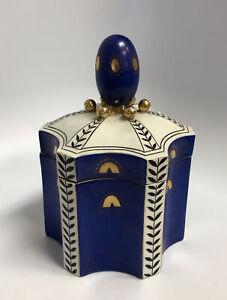 Art Deco German Fraureuth Kunstabteilung Cobalt Blue Porcelain Lidded Jar Box