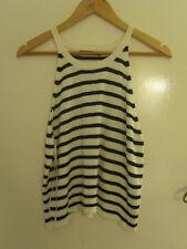 Primark White & Blue Striped Thin Knit Tank Top / Vest in Size 16
