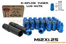 Blue 12x1.25 Chrome Spline Lug Nuts +Keys For 5 Lug Nissan Maxima Altima 370Z