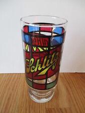 """Vintage SCHLITZ """"Stain Glass"""" BEER 6.5"""" GLASS"""