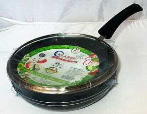 Non stick wok Stir Frying Pan Long Handle Boiling Pot with Vented Glass Lid 26cm