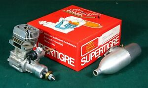 SUPER TIGRE G 75 RING RC MODEL AIRPLANE ENGINE WITH MUFFLER EXCELLENT IN BOX