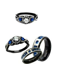 HIS AND HER BLACK & BLUE CARBON CZ STAINLESS STEEL ENGAGEMENT WEDDING RING SET