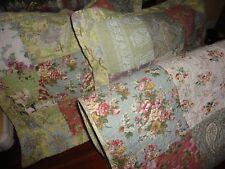 GREENLAND BLOOMING PRAIRIE PATCHWORK GREEN PINK (3PC) FULL/QUEEN QUILT SET