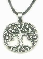 Lebensbaum Anhänger Zinn, Weltenbaum Amulett + Band, Yggdrasil, Baum des Lebens