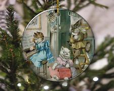 Funny Cat Kittens Dressed Up Vintage Style Christmas Ornament, Christmas Gift