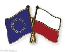 EU European Union & Poland Flags Friendship Courtesy Enamel Lapel Pin Badge
