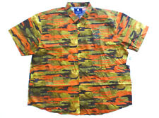Rocawear Classic Big Mens 2XB Brown Green Orange Camo Button Front Shirt New