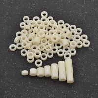 100 Pcs Plastic Washer Round Non Threaded Screws Fastener Hollow White M4