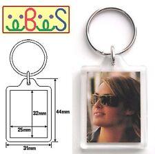 2x Blank Clear Acrylic Keyrings 32x25mm Photo Size (key ring plastic) 09009