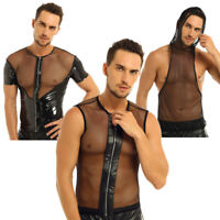 Mens Mesh See-Through Fishnet T-shirt Clubwear Stage Costume Mucle Vest Tank Top