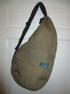 L.L. BEAN Ameribag Shoulder Bag TAN Nylon Healthy Back Sling Crossbody USED 1X!