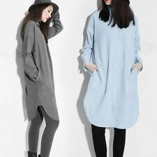 Long Loose Striped Shirt Blouse Dress Women Casual Baggy Street Top Fashion New