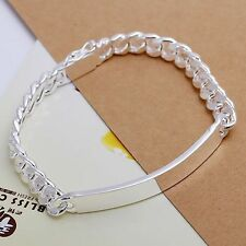 925 Sterling Silver Plated Bangle Cuban Link ID Mens Womens Bracelet DLH181