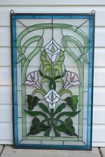 "Handcrafted stained glass red Clear Beveled flowers window panel,11/"" x 22/"""