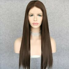 US 24inch Synthetic hair Glueless Lace front wigs Straight Light Brown Women