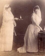 Sunday family scene Candle Meudon France old Photo 1900