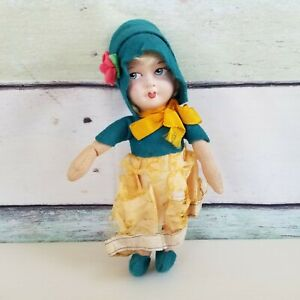 Antique Cloth Doll Flapper Hand Painted Molded Face Cloth Body