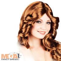 70s Brown Disco Wig Ladies Fancy Dress 1970s Celebrity Singer Costume Accessory