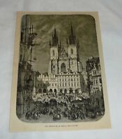 1876 magazine engraving ~ THEINKIRCHE, Prague, Czech Republic