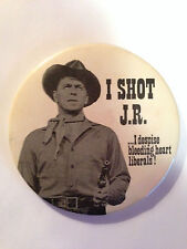"RARE Ronald Reagan ""I Shot J.R. I despise bleeding heart Liberals""  button pin"