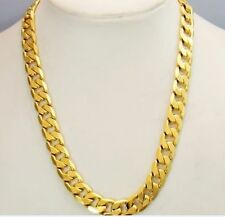 "23.6""10mm Wide 24k Yellow Gold Filled Mens Necklace Curb Link Chain"