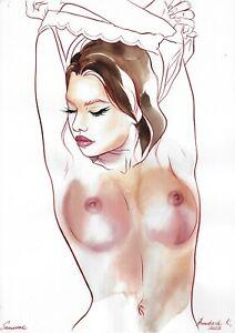 original painting A3 133BK art samovar watercolor author's technique female nude