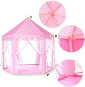 Princess Tent Girls Playhouse Castle with Star Lights, Pink, 55'' x 53'' (DxH)