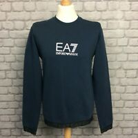 EA7 EMPORIO ARMANI MENS NAVY BLUE TAPE CREW JUMPER SWEATSHIRT RRP £100