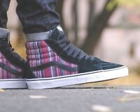 VANS Sk8 Hi (Guate Weave) Black/Multi Stripes Men's Skate Shoes High Top
