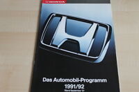 106910) Honda - Modellprogramm - Prospekt 09/1991