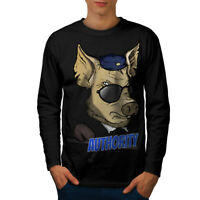Wellcoda Authority Pig Cool Mens Long Sleeve T-shirt, Funny Graphic Design