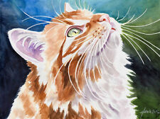 """Guck mal ..."", Katze, Cat, Chat, Gato, Original Aquarell 24x32, Studio-Milamas"