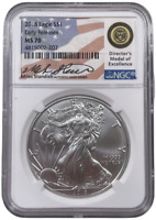 2018 NGC MS70 American Silver Eagle Miles Standish Signature ASE