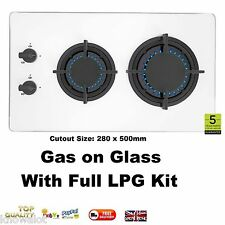 Compact Motorhome Gas Hob In Tempered Glass LPG KIT INCLUDED - Self Build Camper