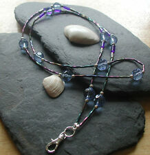 """Deep Sea"" Glass Beads ID Lanyard Badge Holder Handmade ID Necklace"