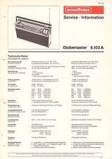 NORDMENDE - Globemaster 6.103 A - Service Information Schaltbild - B3135