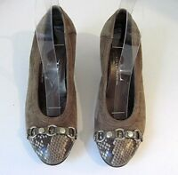 AGL ATTILIO GIUSTI LEOMBRUNI TAUPE SUEDE SNAKE FRONT HEELS SIZE 37 1/2