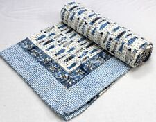 Light Blue Fish Print Kantha Queen Size Bedcover Jaipuri Hand Block Bedspread