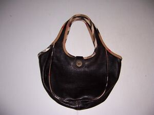 Burberry Black leather Hand Bag Tote Purse